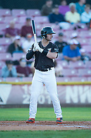 Salem-Keizer Volcanoes designated hitter Joey Bart (46) at bat during a Northwest League game against the Eugene Emeralds at Volcanoes Stadium on August 31, 2018 in Keizer, Oregon. The Eugene Emeralds defeated the Salem-Keizer Volcanoes by a score of 7-3. (Zachary Lucy/Four Seam Images)