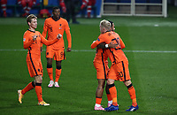 Netherlands's Donny van de Beek, right, celebrates with his teammates after scoring during the UEFA Nations League football match between Italy and Netherlands at Bergamo's Atleti Azzurri d'Italia stadium, October 14, 2020.<br /> UPDATE IMAGES PRESS/Isabella Bonotto
