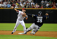 Jun. 30, 2008; Phoenix, AZ, USA; Arizona Diamondbacks second baseman Augie Ojeda forces out Milwaukee Brewers base runner Prince Fielder but is unable to complete the double play in the first inning at Chase Field. Mandatory Credit: Mark J. Rebilas-