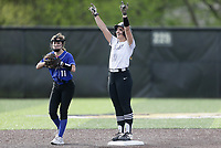Bentonville second baseman Emily Perry (20) reacts at second, Thursday, April 29, 2021 during a softball game at Bentonville High School in Bentonville. Check out nwaonline.com/210430Daily/ for today's photo gallery. <br /> (NWA Democrat-Gazette/Charlie Kaijo)