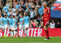 A dejected looking  Heurelho Gomes of Watford after the 4th goal by Raheem Sterling of Manchester City during the FA CUP FINAL match between Manchester City and Watford at Wembley Stadium, London, England on 18 May 2019. Photo by Andy Rowland.