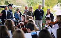 Pictured: Prince Edward with HM Lord Lieutenant of Dyfed Sara Edwards<br />HRH Prince Edward, The Earl of Wessex has visited the National Botanic Gardens of Wales in Llanarthney, Carmarthenshire, for the Duke of Edinburgh Awards. Thursday 21 September 2017