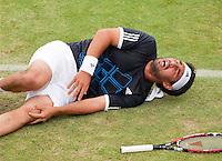 17-6-09, Rosmalen, Tennis, Ordina Open 2009, Marcos Baghdatis grijpt schreeuwend van pijn naar zijn knie, hij moet het veld met een brancard verlaten