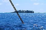 An anchor chain in a beautiful setting.