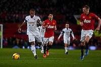 Saturday 11 January 2014 Pictured: Wayne Routledge<br /> Re: Barclays Premier League Manchester Utd v Swansea City FC  at Old Trafford, Manchester