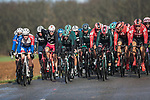 Bora-Hansgrohe and Team Sunweb at the front of the peloton during a wet Stage 2 of the 78th edition of Paris-Nice 2020, running 166.5km form Chevreuse to Chalette-sur-Loing, France. 9th March 2020.<br /> Picture: ASO/Fabien Boukla | Cyclefile<br /> All photos usage must carry mandatory copyright credit (© Cyclefile | ASO/Fabien Boukla)