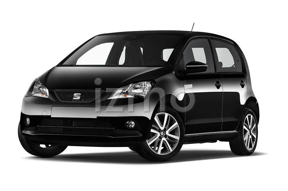 Stock pictures of low aggressive front three quarter view of a 2020 Seat Mii electric Plus 5 Door Hatchback
