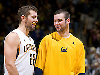 Jeff Powers of California shares some laughs with Harper Kamp of California during the game against UC Irvine at Haas Pavilion in Berkeley, California on November 11th, 2011.  California defeated UC Irvine, 77-56.