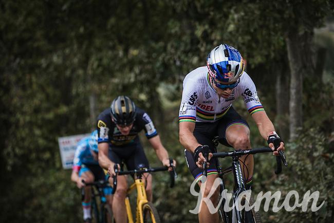 Wout Van Aert (BEL/Cibel-Cebon Offroad Team), Michael Vanthourenhout (BEL/Marlux Bingoal) and later race winner Toon Aerts (BEL/Telenet Fidea Lions) up the Koppenberg. <br /> <br /> Koppenbergcross Belgium 2018
