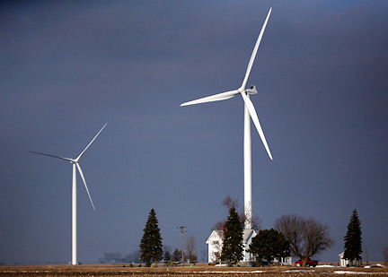 The Harvest Wind Farm in Huron County, Michigan on Thursday, March 13, 2008. Michigan is struggling with an economic downturn due to major changes in the auto industry and is hoping to find economic stimulus in alternative energies such as wind and solar power.