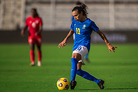 ORLANDO, FL - FEBRUARY 24: Marta #10 of Brazil dribbles the ball during a game between Brazil and Canada at Exploria Stadium on February 24, 2021 in Orlando, Florida.