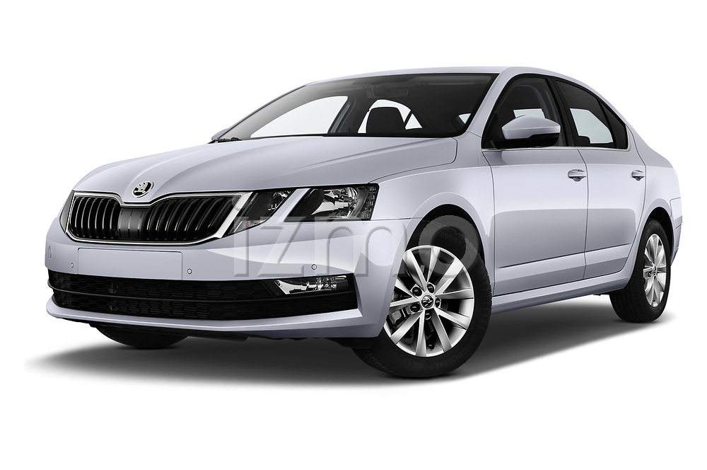 Stock pictures of low aggressive front three quarter view of a 2017 Skoda Octavia Ambition 5 Door Hatchback