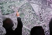 """milano, quartiere bovisa. presentazione del nuovo progetto urbanistico """"Nuova Bovisa"""" per l'area dei gasometri --- milan, bovisa district. presentation of the new city plan """"Nuova Bovisa"""" for the area of the gasometers."""