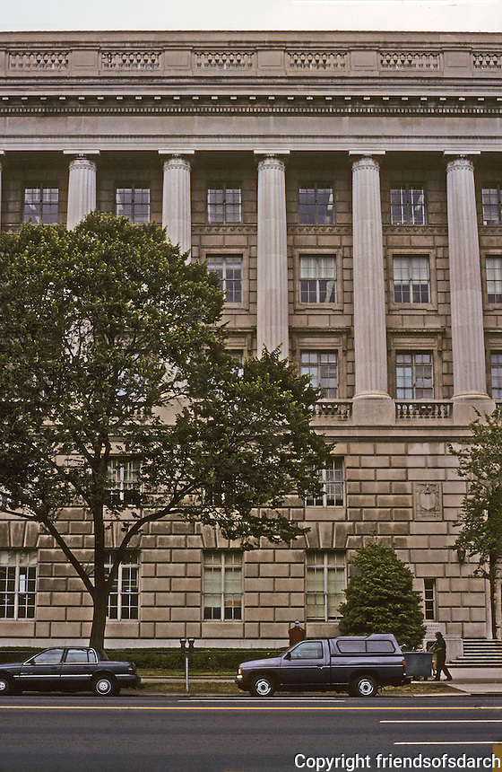 Washington D.C. : Internal Revenue, Constitution Ave.-- elevation.  Governmental Classicism, Federal Triangle. Photo '91.