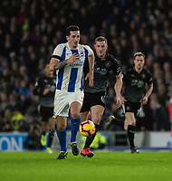 Brighton & Hove Albion's Lewis Dunk (left) under pressure from Burnley's Chris Wood (right) <br /> <br /> Photographer David Horton/CameraSport<br /> <br /> The Premier League - Brighton and Hove Albion v Burnley - Saturday 9th February 2019 - The Amex Stadium - Brighton<br /> <br /> World Copyright © 2019 CameraSport. All rights reserved. 43 Linden Ave. Countesthorpe. Leicester. England. LE8 5PG - Tel: +44 (0) 116 277 4147 - admin@camerasport.com - www.camerasport.com