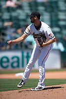 Sacramento RiverCats starting pitcher Tyler Beede (32) follows through on his delivery during a Pacific Coast League against the Tacoma Rainiers at Raley Field on May 15, 2018 in Sacramento, California. Tacoma defeated Sacramento 8-5. (Zachary Lucy/Four Seam Images)