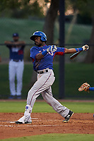 AZL Rangers Rafy Barete (21) at bat during an Arizona League game against the AZL Dodgers Mota at Camelback Ranch on June 18, 2019 in Glendale, Arizona. AZL Dodgers Mota defeated AZL Rangers 13-4. (Zachary Lucy/Four Seam Images)