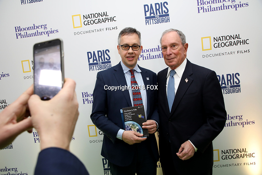 """LONDON, UK - DECEMBER 11: Mark Campanale and Michael Bloomberg attend the London Premiere of Bloomberg and National Geographic's """"Paris to Pittsburgh"""" at the BAFTA Theatre on December 11, 2018 in London, UK. (Photo by Vianney Le Caer/National Geographic/PictureGroup)"""
