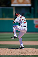 Rochester Red Wings relief pitcher Trevor Hildenberger (24) during a game against the Scranton/Wilkes-Barre RailRiders on June 7, 2017 at Frontier Field in Rochester, New York.  Scranton defeated Rochester 5-1.  (Mike Janes/Four Seam Images)