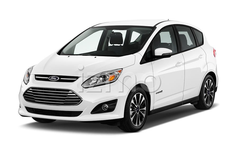 2018 Ford C-Max Hybrid Titanium 5 Door Mini Van angular front stock photos of front three quarter view