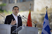 Pictured: Greek Prime Minister Alexis Tsipras at Prespa Lake in northern Greece. Sunday 17 June 2018<br /> Re: Greece and the Former Yugoslav Republic Of Macedonia (FYROM) have signed a deal that aims to settle a decades-long dispute over the country's name.<br /> Under the agreement, Greece's neighbour will be known as North Macedonia.<br /> Heated rows over Macedonia's name have been going on since the break-up of the former Yugoslavia, of which it was a part, and have held up Macedonia's entry to Nato and the EU.<br /> Greece has long argued that by using the name Macedonia, its neighbour was implying it had a claim on the northern Greek province also called Macedonia.<br /> The two countries' leaders, Mr Tsipras and his Macedonian counterpart Zoran Zaev announced the deal on Tuesday and have pressed ahead despite protests.<br /> The two countries' foreign ministers signed the deal on Lake Prespa on Greece's northern border on Sunday.<br /> The agreement still needs to be approved by both parliaments and by a referendum in Macedonia.