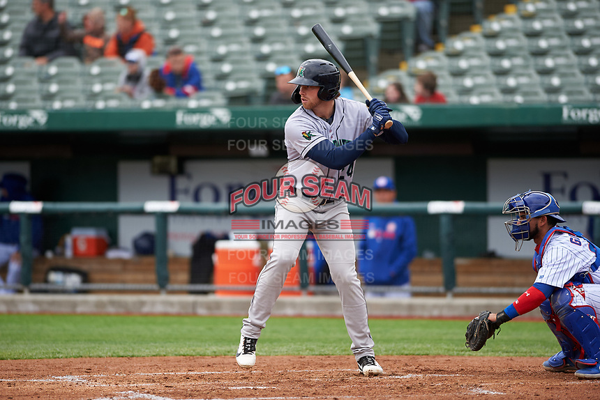 Cedar Rapids Kernels Gabe Snyder (24) at bat during a Midwest League game against the South Bend Cubs at Four Winds Field on May 8, 2019 in South Bend, Indiana. South Bend defeated Cedar Rapids 2-1. (Zachary Lucy/Four Seam Images)