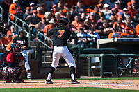 Oregon State Beavers right fielder Tyler Malone (7) at bat during a game against the Gonzaga Bulldogs on February 16, 2019 at Surprise Stadium in Surprise, Arizona. Oregon State defeated Gonzaga 9-3. (Zachary Lucy/Four Seam Images)