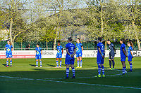 One minute of silence pictured before a female soccer game between  AA Gent Ladies and Club Brugge YLA on the third matchday of play off 1 in the 2020 - 2021 season of Belgian Scooore Womens Super League , friday 23 th of April 2020  in Oostakker , Belgium . PHOTO SPORTPIX.BE | SPP | STIJN AUDOOREN