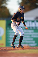 West Virginia Black Bears shortstop Robbie Glendinning (7) leads off second base during a game against the Batavia Muckdogs on August 5, 2017 at Dwyer Stadium in Batavia, New York.  Batavia defeated Williamsport 3-2.  (Mike Janes/Four Seam Images)