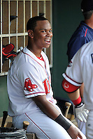 Third baseman Rafael Devers (13) of the Greenville Drive in a game against the Augusta GreenJackets on Thursday, July 16, 2015, at Fluor Field at the West End in Greenville, South Carolina. Devers is the No. 6 prospect of the Boston Red Sox, according to Baseball America. Greenville won, 11-5. (Tom Priddy/Four Seam Images)