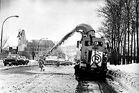 April 1975 File Photo - Snow removal during winter in Montreal