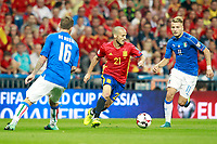 Spain's David Jimenez Silva (c) and Italy's Daniele De Rossi (l) and Ciro Immobile during FIFA World Cup 2018 Qualifying Round match. September 2,2017.(ALTERPHOTOS/Acero)