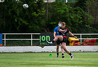 Chris Hankinson (on loan from Wigan) of London Broncos with a conversion attempt during the Betfred Championship match between London Broncos and Newcastle Thunder at The Rock, Rosslyn Park, London, England on 9 May 2021. Photo by Liam McAvoy.