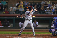Mesa Solar Sox second baseman Kody Eaves (28), of the Detroit Tigers organization, at bat during an Arizona Fall League game against the Scottsdale Scorpions on October 23, 2017 at Scottsdale Stadium in Scottsdale, Arizona. The Solar Sox defeated the Scorpions 5-2. (Zachary Lucy/Four Seam Images)