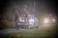 Tiesj Benoot (BEL/Lotto-Soudal) & Thomas de Gendt (BEL/Lotto-Soudal) up the misty & very steep section (+16%) of the Mur de Péguère (Cat1/1375m/9.3km/7.9%)<br /> <br /> Stage 15: Limoux to Foix (185km)<br /> 106th Tour de France 2019 (2.UWT)<br /> <br /> ©kramon