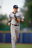 West Michigan Whitecaps center fielder Danny Woodrow (8) jogs back to the dugout during the second game of a doubleheader against the Lake County Captains on August 6, 2017 at Classic Park in Eastlake, Ohio.  West Michigan defeated Lake County 9-0.  (Mike Janes/Four Seam Images)