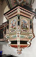 Renaissance Kanzel im Bornholmer Dom (Åkirke), 12.Jh.  in Åkirkeby auf der Insel Bornholm, Dänemark, Europa<br /> Pulpit in Bornholm Cathedral  (Åkirke), 12.c.  in Åkirkeby, Isle of Bornholm Denmark