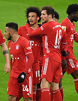 3rd January 2021, Allianz Arean, Munich Germany; Bundesliga Football, Bayern Munich versus FSV Mainz; Leroy SANE, FCB celebrates his goal, for 2-2 with Leon GORETZKA, FCB