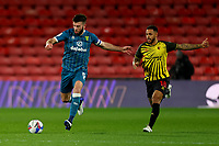 26th December 2020; Vicarage Road, Watford, Hertfordshire, England; English Football League Championship Football, Watford versus Norwich City; Grant Hanley of Norwich City under pressure from Andre Gray of Watford