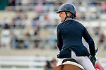 October 17, 2021: Alexandra Knowles (USA), aboard Morswood, reacts after competing during the Stadium Jumping Final at the 5* level during the Maryland Five-Star at the Fair Hill Special Event Zone in Fair Hill, Maryland on October 17, 2021. Jon Durr/Eclipse Sportswire/CSM