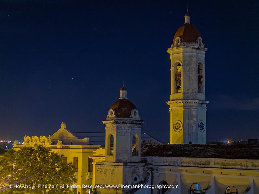 Cienfuegos church overlooking main plaza at night