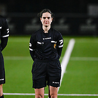 Referee Irmgard Van Meirvenne pictured during a female soccer game between  Racing Genk Ladies and AA Gent Ladies on the eleventh matchday of the 2020 - 2021 season of Belgian Scooore Womens Super League , friday 22 th of January 2021  in Genk , Belgium . PHOTO SPORTPIX.BE | SPP | DAVID CATRY
