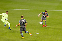 ST PAUL, MN - OCTOBER 18: Ethan Finlay #13 of Minnesota United FC scores the first goal of the game during a game between Houston Dynamo and Minnesota United FC at Allianz Field on October 18, 2020 in St Paul, Minnesota.
