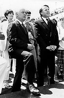 Montreal (QC) CANADA  JUne 7 1984 file photo -<br /> Rene Levesque (L) and Bernard Landry  (R) attend the baptism of SOFATI-SOCONAV ship in Montreal Old-Port