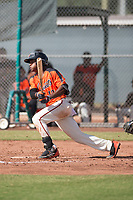 San Francisco Giants second baseman Jalen Miller (10) follows through on his swing during an Instructional League game against the Kansas City Royals at the Giants Training Complex on October 17, 2017 in Scottsdale, Arizona. (Zachary Lucy/Four Seam Images)