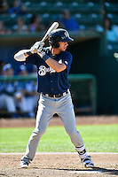 Weston Wilson (10) of the Helena Brewers at bat against the Ogden Raptors in Pioneer League action at Lindquist Field on July 17, 2016 in Ogden, Utah. Ogden defeated Helena 5-4.  (Stephen Smith/Four Seam Images)