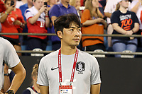 CHARLOTTE, NC - OCTOBER 3: Assistant coach Sunghwan Byun of Korea Republic during a game between Korea Republic and USWNT at Bank of America Stadium on October 3, 2019 in Charlotte, North Carolina.