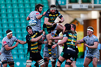 13th March 2021; Franklin's Gardens, Northampton, East Midlands, England; Premiership Rugby Union, Northampton Saints versus Sale Sharks; Tom Wood of Northampton Saints spills a ball at a line out
