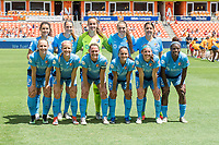 Houston, TX - Saturday May 13, The Sky Blue FC starting lineup poses for a photo prior to a regular season National Women's Soccer League (NWSL) match between the Houston Dash and Sky Blue FC at BBVA Compass Stadium. Sky Blue won the game 3-1.