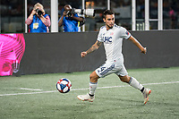 FOXBOROUGH, MA - AUGUST 4: Diego Fagundez #14 of New England Revolution near the Los Angeles FC goal line during a game between Los Angeles FC and New England Revolution at Gillette Stadium on August 3, 2019 in Foxborough, Massachusetts.